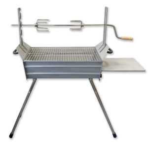 Edelstahl Holzkohlegrill Mangal Ritter mit Drehspieß Standgrill BBQ Grill