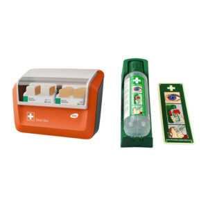 FLEXEO-Erste-Hilfe-Spar-Set, mit Augenspülung und gefülltem WERO Pflasterspender