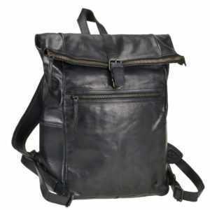 Bear Design Rucksack Leder Damen Herren Rolltop Daypack mit Notebookfach schwarz