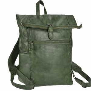 Bear Design Rucksack Leder Damen Herren Rolltop Daypack mit Notebookfach grün