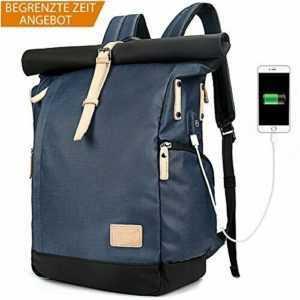 Laptop Rucksack Damen Herren, Roll Top Rucksack mit USB fur 15.6 Zoll  (Blau)