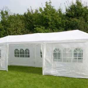 Partyzelt 3x9m  8 Seitenteile Pavillon Gartenpavillon Festzelt weiß Hochzeit