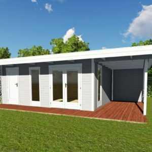 Gartenhaus Flachdach Holz 4,5x3m Blockhaus 40mm Holzhaus Gerätehaus Sydney 28