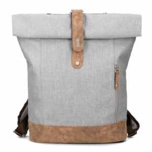 zwei Olli O24 Rucksack Tasche Ice Grau Braun Damen Herren