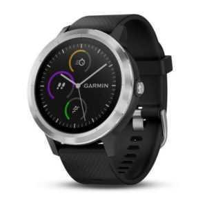 Garmin FitnessTracker Vivoactive 3 Schwarzes Silikonarmband Edelstahl Smartwatch