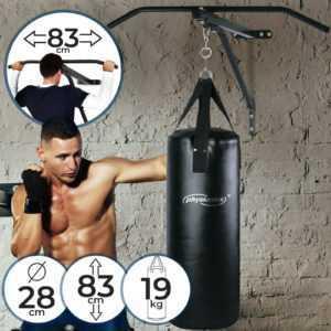 Boxsack mit Klimmzugstange Set Wandhalterung Gefüllt Sandsack Boxen Punching Bag