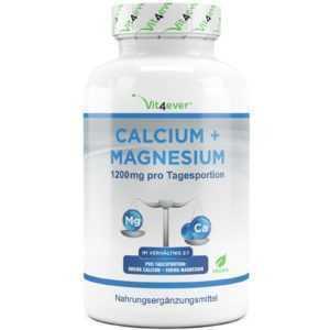 CALCIUM & MAGNESIUM = 360 Tabletten  Vegan Hochdosiert 1200 mg Portion Kalzium