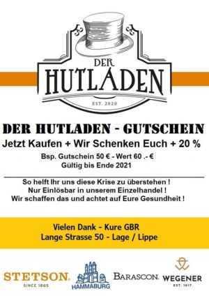 DER HUTLADEN - LAGE GUTSCHEIN 100.- € = WERT 120.- € - NUR IM LADEN EINLÖSBAR
