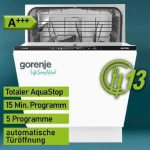 Gorenje A+++ 60cm Einbau Geschirrspüler Geschirr Spülmaschine...