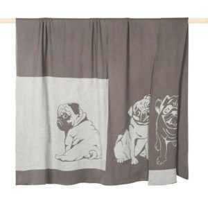 PAD Wohndecke Räuber Mops grey 140 x 190 cm aus 100% Baumwolle