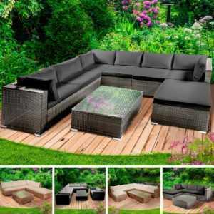Gartenmöbel Poly Rattan Lounge Möbel Sitzgarnitur Gartengarnitur Sitzgruppe Sofa