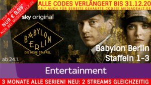 3 MONATE SKY ENTERTAINMENT TICKET 💕 INKL. BABYLON BERLIN St. 1-3 💕 NUR € 9,99*