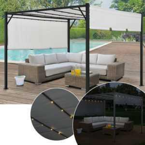 Pavillon Pergola Gartenzelt Terrassendach Sonnenschutz LED Licht Metall ArtLife®