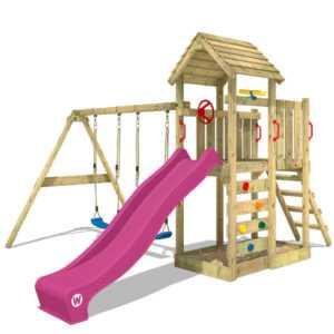 WICKEY Spielturm Klettergerüst MultiFlyer mit Doppelschaukel & violetter Rutsche
