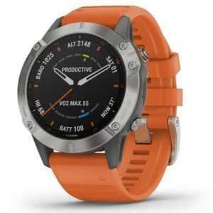 Garmin fenix 6 Sapphire grau/orange 47mm Smartwatch, iOS/Android, wasserdicht