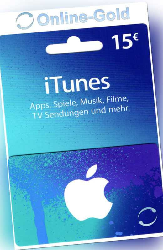 15€ Eur iTunes DE Gift Card - 15 Euro APPLE Gutschein Geschenkkarte iPhone iPad