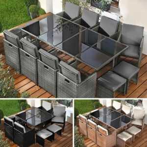 Poly Rattan Sitzgarnitur Gartenmöbel Essgruppe Lounge Sitzgruppe Garten Garnitur