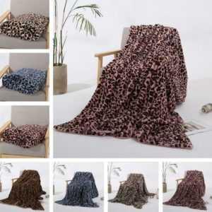 Weich Faux-Pelz Shaggy Leopard Gedruckt Warm Decken für Couch /