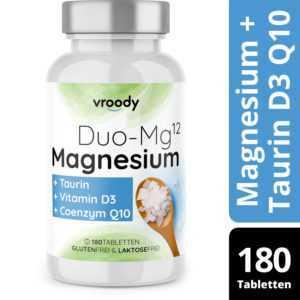Magnesium Komplex 614mg mit Magnesiumoxid & -Citrat, Q10, Taurin & Vitamin D3