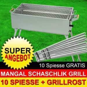 MANGAL Edelstahl MEGA - Schaschlik GRILL + 10 SPIESSE + Grillrost - Holzkohle
