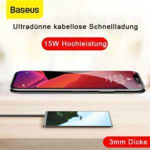 Baseus 15W Schnell Qi Induktive Ladestation Ultra Dünn Wireless Charger Ladegerä