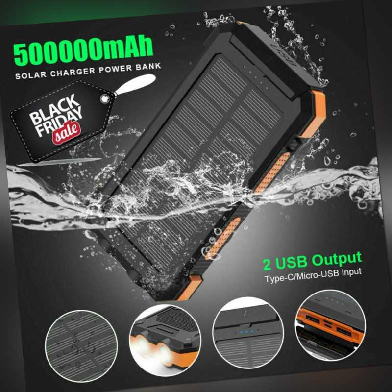 Powerbank 500000mAh Externer Batterie Ladegerät Zusatzakku 2USB für alle Handys