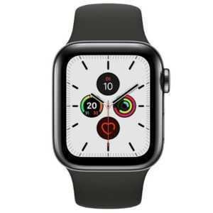 Apple Watch Series 5 GPS + LTE 44mm Edelstahl schwarzes Armband Space schwarz 1,