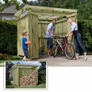Gerätehaus Gartenschuppen Holz Typ 1 mit Flachdach Fahrradgarage Fahrradhaus