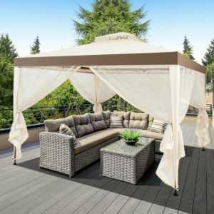 Gartenpavillon Pavillon 4 Seitenwänden Gartenzelt Partyzelt Fest 300x300x265cm