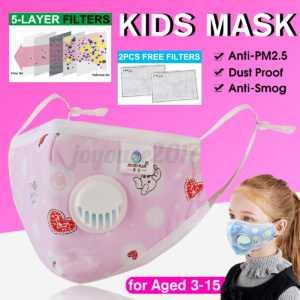 5PCS Kinder Atemschutzmaske + 3lagig Filter Schutz Mund Staubschutz Baumwollen