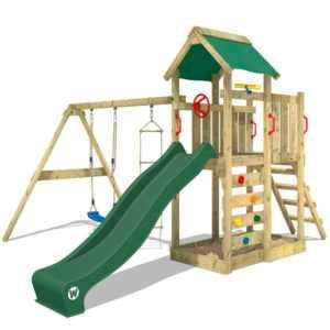 WICKEY Spielhaus Spielturm Kletterturm MultiFlyer - Schaukel & grüne Rutsche