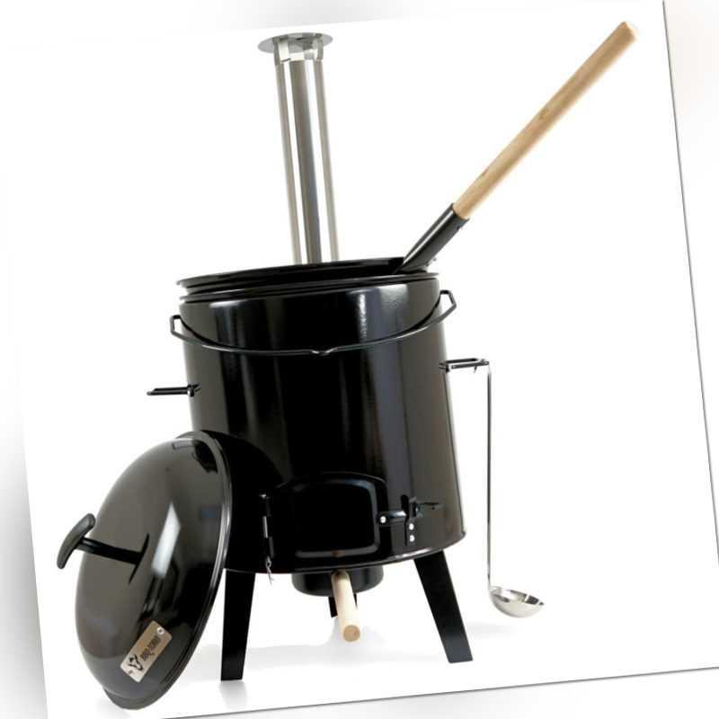 BBQ-Toro Gulaschkanone   Gulaschkessel    Eintopfofen 17 L emailliert mit Deckel