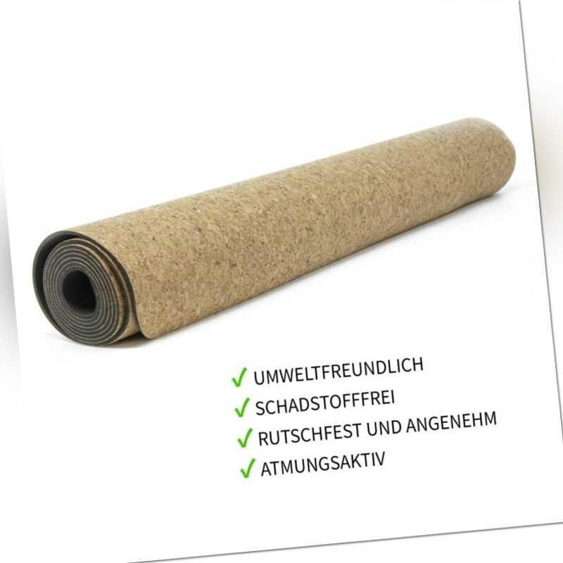Umweltfreundliche Yoga Matte aus Naturkork Naturkautschuk, 3mm