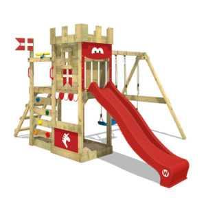 WICKEY Spielturm Klettergerüst RoyalFlyer - mit Doppelschaukel & roter Rutsche
