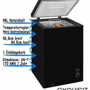 Exquisit Gefriertruhe Schwarz Tiefkühltruhe Eisschrank Freistehend...