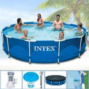 INTEX 366x84 Stahlwand Frame Swimming Pool Schwimmbecken Schwimmbad Pumpe 28214