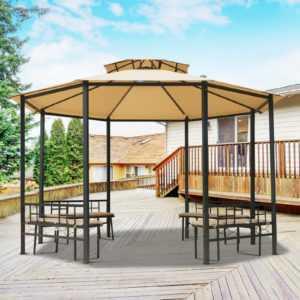 Gartenpavillon Pavillon Partyzelt Festzelt Gartenzelt mit Sitzbank Ø3,8 x 2,65 m