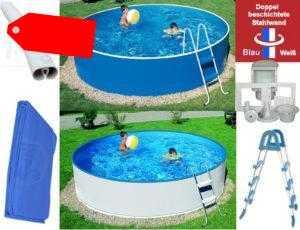 Schwimmbecken 3,60 x 0,90 m blau weiß Skimmer Leiter Folie Stahlwandpool