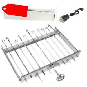 Edelstahl Spießdreher für 11 Spieße Schaschlik Mangal 230V Motor +12 Spieße