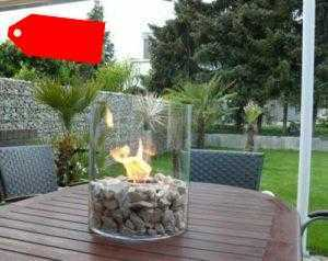 Bio Ethanol Design Gel Kamin Tisch Glas Feuer Deko Naturstein Feuerstelle 35 cm