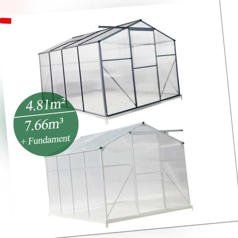 Gewächshaus Aluminium mit Fundament Alu Treibhaus Tomatenhaus Pflanzhaus 7.66m³