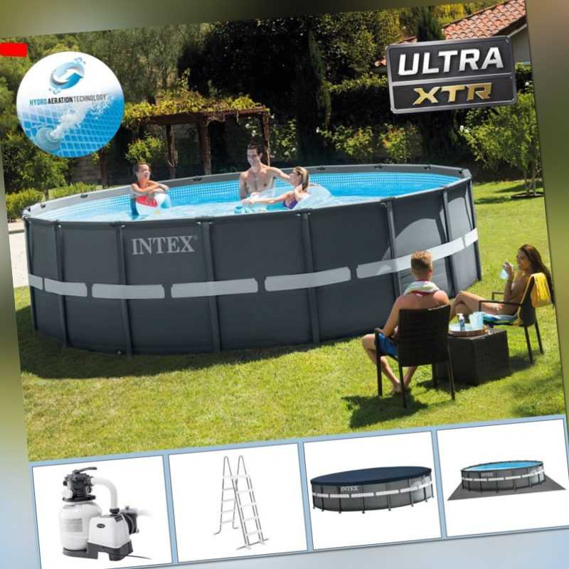 INTEX 549x132 cm Swimming Pool Ultra Frame Stahlwand Schwimmbad Sandfilter 28332