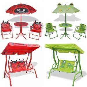 Kinderschaukel Hollywoodschaukel Kindersitzgruppe Sitzgarnitur mit Sonnenschirm