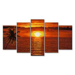 Sonnenuntergang in der Karibik Schipper Malen nach Zahlen Malvorlage Erwachsene