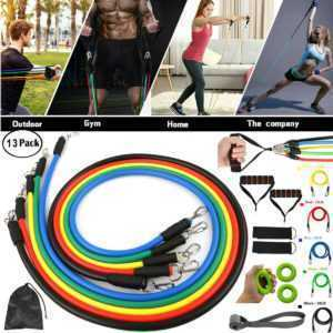 13tlg/Set Resistance Fitnessbänder Expander Tube Gymnastikband Yoga Latexband DE
