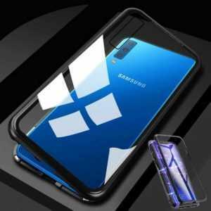 Für Xiaomi Redmi Note 8 Pro Magnet Metall Glas Transparent Schwarz Tasche Hülle