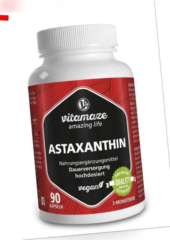 (€54,82/100g) Natürliches Astaxanthin 4 mg VEGAN, 90 Kapseln für 3 Monatsvorrat