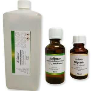 Set Alkohol 96,6 % 1 Liter + Glycerin + Wasserstoffperoxid für WHO-Rezept