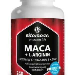(€9,68/100g) Maca Kapseln hochdosiert + L-Arginin + Vitamine + Zink 240 Kapsel