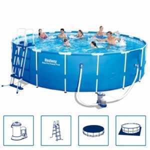 Bestway Schwimmbecken Stahlrahmen Rund 549x122cm Schwimmbad Swimmingpool Pool